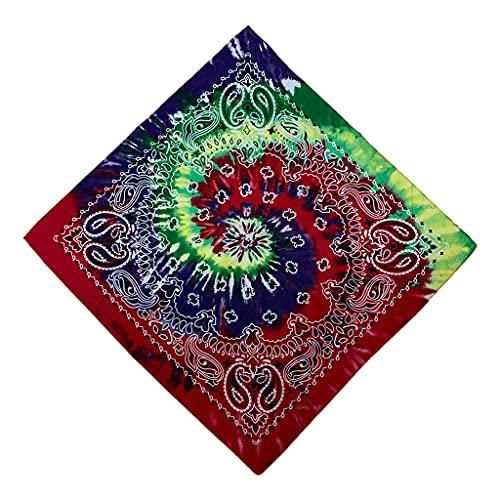 S-TROUBLE Pañuelo con Estampado de Paisley Doble para la Cabeza, Turbante con Turbante Cuadrado de Hip Hop con Efecto Tie-Dye