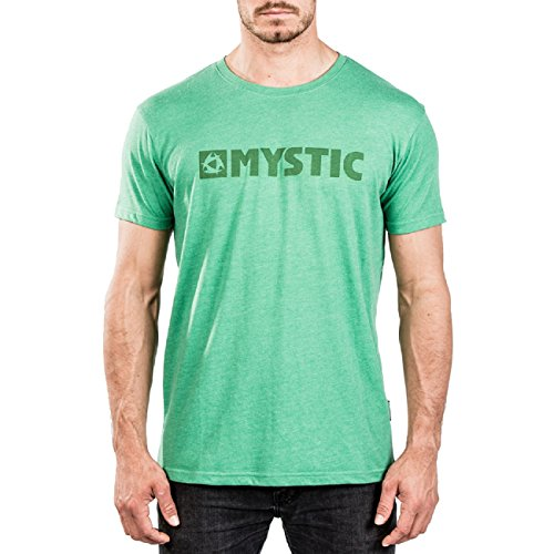 Mystic Watersports - Surf Kitesurf & Windsurfing Brand 2.0 T-shirt Top Green Melee - 160 g/m2 Single Jersey