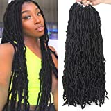 24 Inch 6 Packs Nu Faux Locs Black Goddess Curly Wavy Crochet Braids Hair 21 Strands African Roots Synthetic Most Natural Soft Locs Crochet Dreadlock Hair Extensions for Woman #1B