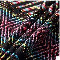 民族調 ストライプ 生地 布 はぎれ 端切れ ネイティブ 柄 オルテガ 手芸材料 手芸用品 ハンドメイド バッグ 作り 作品 制作に (ブラックレインボー)