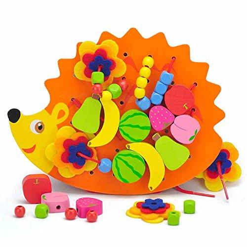 Jouets FEI 48 PCS en Bois Fruits et légumes laçage et Cordes Perles avec Hedgehog Board pour ci-Dessus 3 Ans Enfants Début Éducation