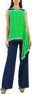 PAROSH Polka dot Sleeveless Silk blouse for Women