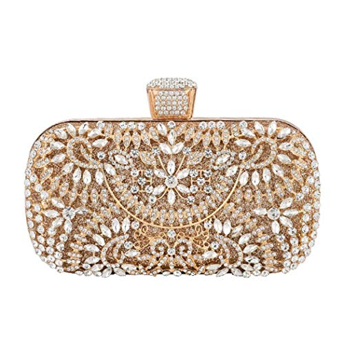 Damen-Handtasche mit Strasssteinen, Clutch, für Hochzeit, Abschlussball, Party, Gold (gold), Einheitsgröße