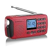 Radio HR11W AM/FM Portable à Manivelle Radio Solaire Rechargeable Radio d'Urgence...