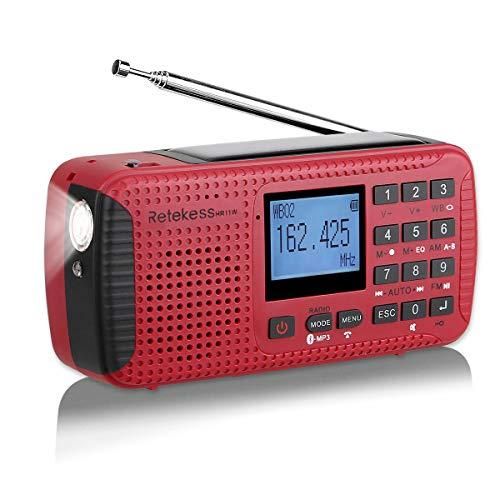 Retekess HR11W Radio Am FM Portátil Pequena Radio Solar Manivela Recargable Camping de Emergencia Radio con Linterna SOS Alarma Bluetooth Reloj Despertador Grabador (Rojo)