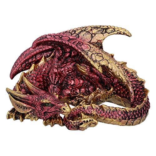 Nemesis Now Aaden-Figura Decorativa de dragón de Descanso Rojo y Dorado, 10.2cm