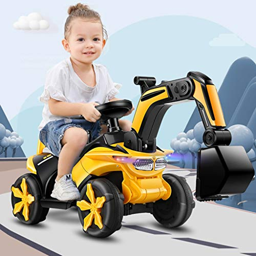 OKBOP Electric Excavator Car, Kids Digger Scooter Toys, Ride on Excavator Tractors, Pretend Play Construction Truck, Pulling Cart Vehicle With Sounds Lights, Gift For 2-7 Years Old Boys Girls (Yellow)