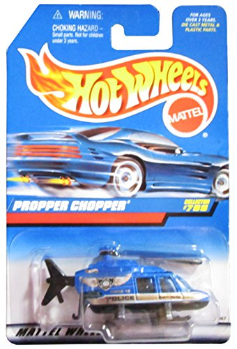 Mattel Hot Wheels 1998 1:64 Scale Gold & Blue Police Propper Chopper Die Cast Helicopter Collector #798