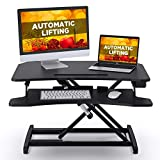 ABOX Electric Powered Lifting Standing Desk Converter, 34' Height Adjustable Sit Stand Desk Riser, Dual Monitors Removable Keyboard Tray, Black