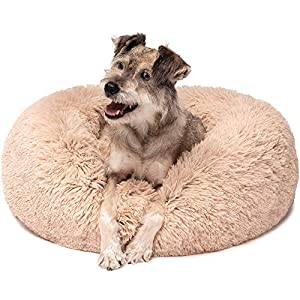 Friends Forever Coco Cat Bed, Faux Fur Dog Beds for Medium Small Dogs – Self Warming Indoor Round Pillow Cuddler, Medium, Tan