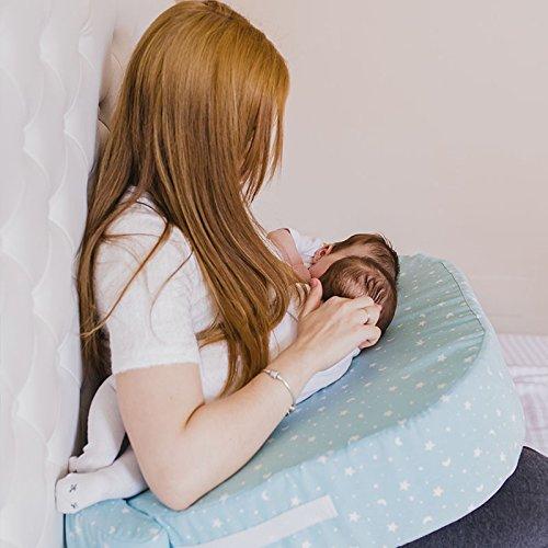 Mimuselina Cojín de Lactancia Gemelar | Almohada para Lactancia Mixta, Base Firme Antivuelcos, Ajustable a tu Contorno, No se Hunde ni Deforma, 100% Algodón, Modelo Estrellas Mint, 49 x 73 cm