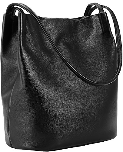 Iswee Leather Totes Shoulder Bag Fashion Handbags and Purses for Women and Ladies (Black)
