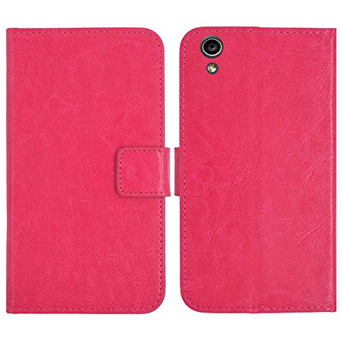 TienJueShi Rosa Flip Book-Style Brief Leder Tasche Schutz Hulle Handy Hülle Abdeckung Fall Wallet Cover Etui Skin Fur MEDION Life S5504 MD 99905 5.5 inch