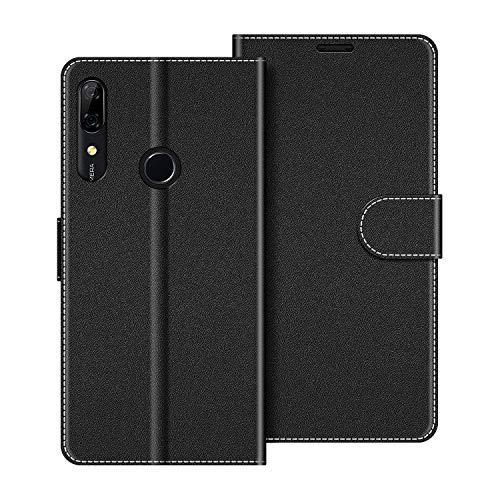 COODIO Funda de cuero para Huawei P Smart Z, funda para Huawei P Smart Z, funda monedero, cubierta de soporte de tarjeta magnética para Huawei P Smart Z, negro