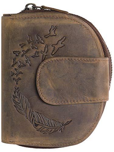 Harrys-Collection halb Runde Damenbörse in Vintage braun mit Feder, Farben:Cognac, Größen:Einheitsgröße