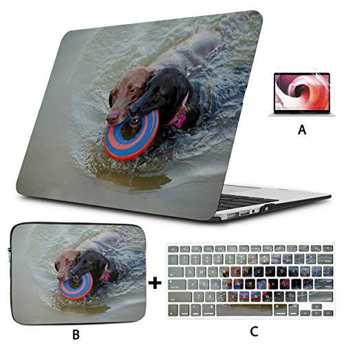 MacBook Pro Laptop Two Labrador Retrievers and Frisbees MacBook Case 13 Inch Hard Shell Mac Air 11'/13' Pro 13'/15'/16' with Notebook Sleeve Bag for MacBook 2008-2020 Version