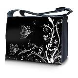Luxburg Design Messenger Bag Notebooktasche Umhängetasche für 17,3 Zoll, Motiv: Pflanzenornament mit Schmetterlingen schwarz-weiß