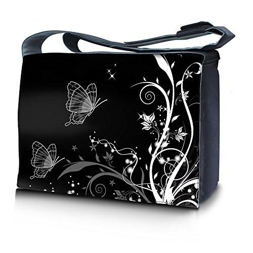 Luxburg® Design Umhängetasche Überschlagtasche College Tasche Studententasche Umhängetasche Schultertasche Daily Bag ca. 45x10x33cm - Motiv: Pflanzenornament mit Schmetterlingen schwarz/weiß