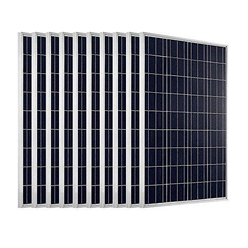 ECO-WORTHY 1000W Solarpanel: 10 Stücke 100W Solarmodul Polykristallin Photovoltaik 12 Volt Solarzelle Ideal zum Aufladen von 12V 24V Batterien