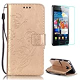 CaseHome Compatible with Case Samsung Galaxy S2 Coque en Cuir [avec Gravuit Protection D'écran] Papillon Fleur en Relief Embossed avec Carte de Crédit et Dragonne-Couleur Or
