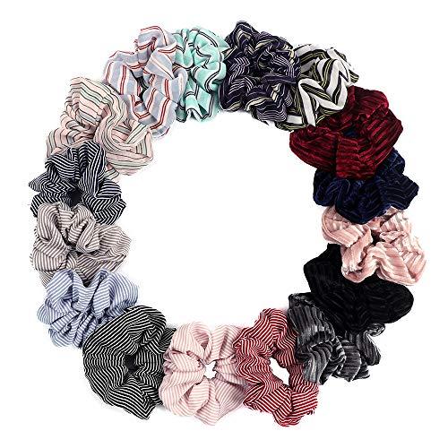 16 Stücke Haargummis für Frauen Mode Streifen Gummibänder Haargummi Weiche Samt Chiffon Haarbänder Haargummis (16 Farben)