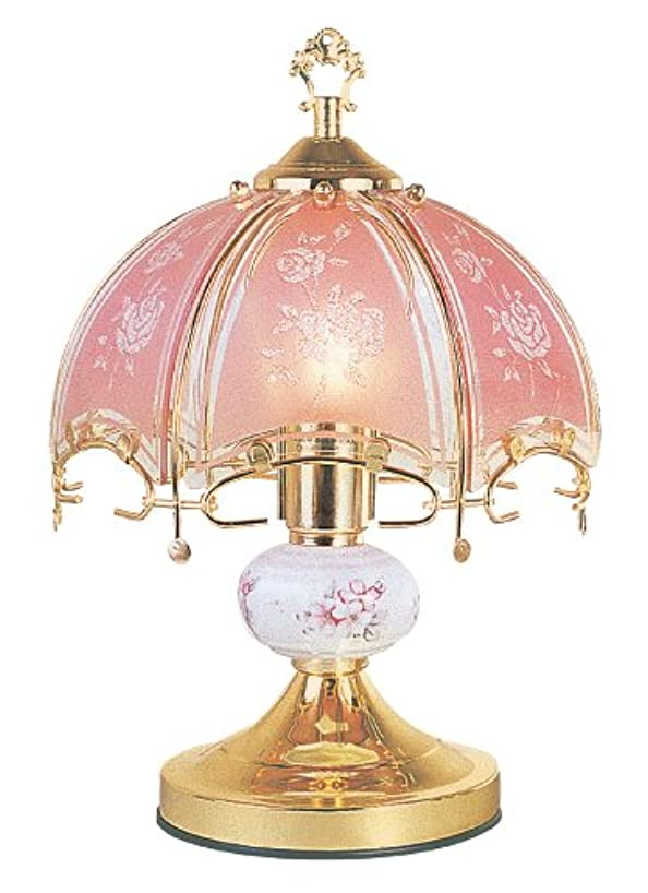 NEW Glass Pink glass floral Scene Touch Lamp 14.3'' H Gold Finish Base