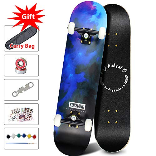 PHOEROS Skateboards -Standard Skateboards for Kids Boys Girls Youths Beginners Starter-Complete Skate Boards 31''x 8''Canadian Maple Pro Cruiser (Blue Light)