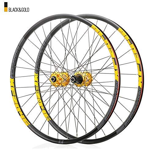 Juego ruedas Conjunto bicicleta montaña Dorado MTB doble pared Aleación aluminio Cubo rueda libre Freno disco llanta Liberación rápida Rodamientos Ciclismo delantera rueda trasera,8-12 velocidad,29'