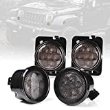 Xprite Smoked Lens Amber LED Front Replacement Turn Signal Lights & Fender Side Marker Lights Assembly Compatible with 2014 - 2018 Jeep Wrangler JK JKU