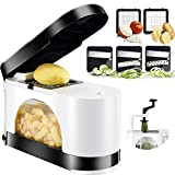 EASACE Vegetable Chopper Dicer Mandoline Slicer Spiralizer Onion Chopper with Container Pro Multi Vegetable Fruit Chopper Kitchen Peeler Cutter Slicer Dicer Cutter 5 Blades