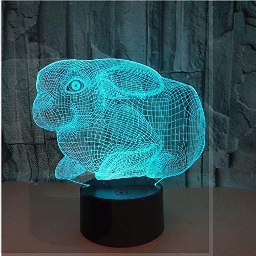 Niedliche Kaninchen 3D Nachtlicht Bunte Note Fernbedienung Led Energiespar Illusion Sichtbares Licht Kinder Weihnachten Geburtstagsgeschenk Spielzeug