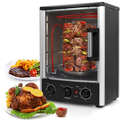 NutriChef PKRT97 Upgraded Multi-Function Rotisserie Vertical Countertop Oven with Bake, Turkey Thanksgiving, Broil Roasting Kebab Rack with Adjustable Settings, 2 Shelves 1500 Watt-PKRT97, 1500W