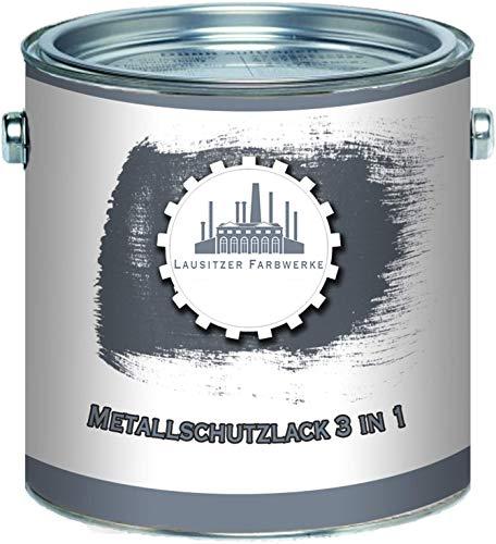 Lausitzer Farbwerke Metallschutzlack 3in1 SEIDENMATT Graphitgrau RAL 7024 Grau 3-in-1 du sparst dir Anti-Rost-Produkte Metallfarbe Metalllack Farbe für Metall Stahl Eisen Zink Aluminium (1 L)