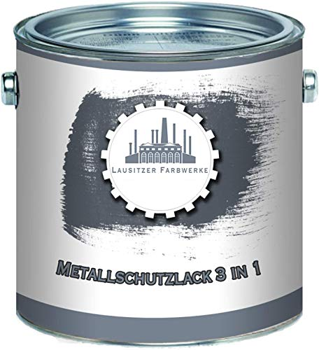 Lausitzer Farbwerke Metallschutzlack 3in1 SEIDENMATT Moosgrau RAL 7003 Grau 3-in-1 du sparst dir Anti-Rost-Produkte Metallfarbe Metalllack Farbe für Metall Stahl Eisen Zink Aluminium (2,5 L)