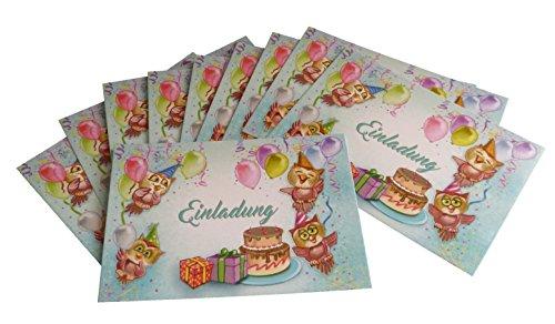 """Einladungskarten Kindergeburtstag Motiv """"Luftballon / Eule"""" im 10er Set von Deko-Schulze. Für Kinder von 2 Jahre bis 9 Jahre ideal. Postkarten als Einladung zum Geburtstag im bereits vorgefertigtem Text auf der Kartenrückseite selbst beschriften."""