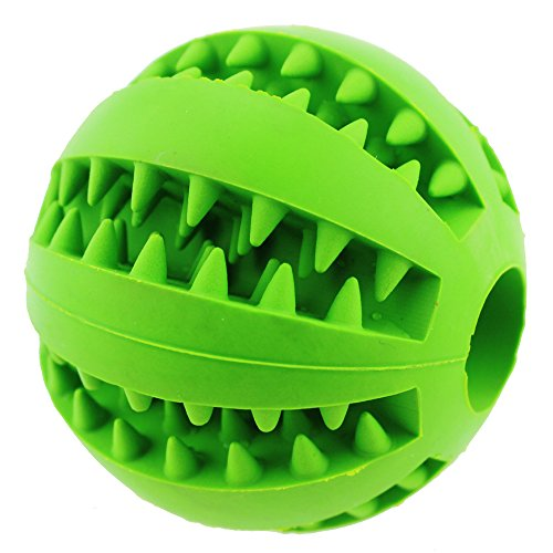 Aduck Durable Dog Ball Toys for Aggressive Chewers Teething Cleaning [Dental Treat] [Bite Resistant] Natural Soft Bouncy Rubber Ball Toys for Pet IQ Training Playing and Chewing -2.8 Inch (Lawn Green)