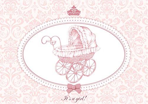 """Glückwunschkarte Itâ´S a Girl Rosa Mã""""Dchen Kinderwagen Klappgruÿkarte Gruÿkarte Baby Taufkarte Geburt Babykarte Feier Geburtsanzeige Mit Umschlag (4)"""