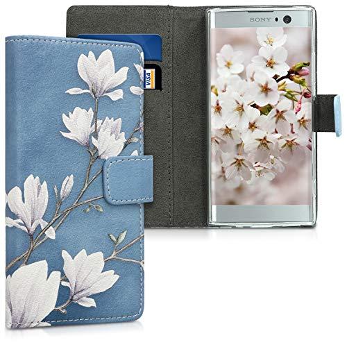 kwmobile Wallet Hülle kompatibel mit Sony Xperia XA2 - Hülle mit Ständer Kartenfächer Magnolien Taupe Weiß Blaugrau