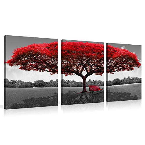 Red Tree Photograph Printed on Canvas Painting for Bedroom Home Wall Decoration Livingroom Bathroom Decor