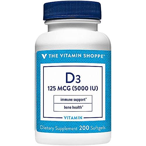 Vitamin D3 5000IU Softgel, Supports Bone Immune Health, Aids in...