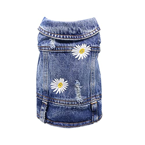 QTART Small Dog Clothes Denim Dog Jacket Girl Boy Puppy Shirt Yorkie Jeans Outfit Pet Vest for Chihuahua, French Bulldog, Cats, M, Daisy