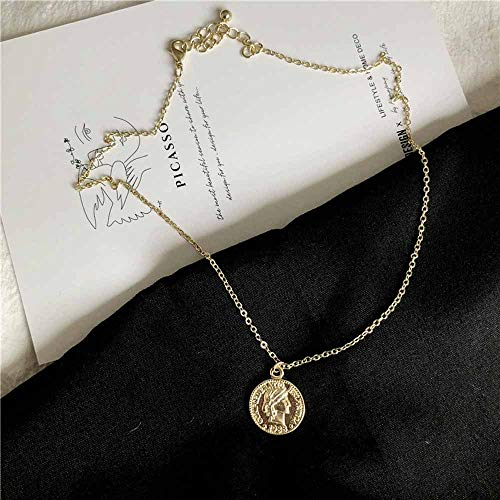 Jovono Vintage Gold Coin Pendant Necklaces Fashion Necklace Chain Jewelry for Women and Girls (Gold)