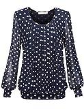 BAISHENGGT Damen Langarmshirt Rundhals Falten Shirt Stretch Tunika Blau-Kaffee M
