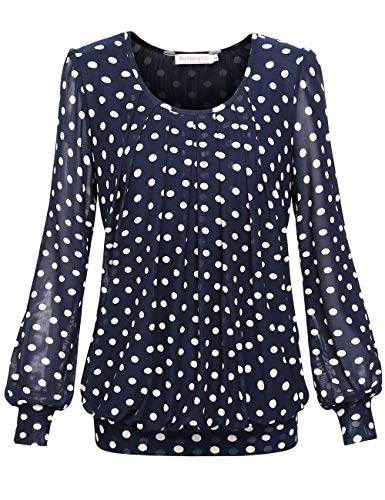 BAISHENGGT Damen Langarmshirt Rundhals Falten Shirt Stretch Tunika Blau-Kaffee S