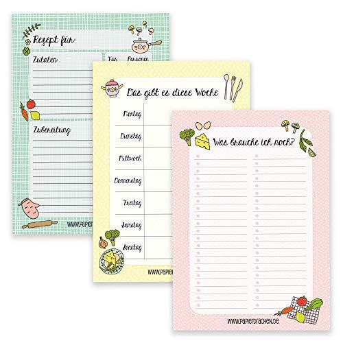 3 Notizblöcke für deine Menüplanung - Einkaufslisten, Rezeptblock, Wochenplan - Menüplanung Essen - Ideal für Haushaltsorganisation - Notizblock Set 10 - DIN A5