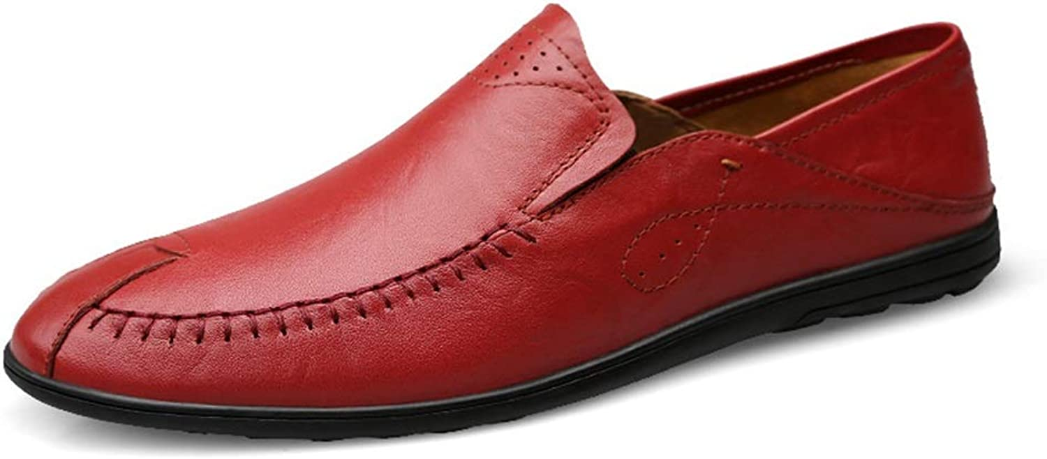 2019 Men's Loafers Flats Mens Loafer Leather Business Casual Driving Loafer For Men Soft OX Leather Anti-skid Breathable Easy To Match Business Boat Moccasins shoes (color   Red wine, Size   9 UK)
