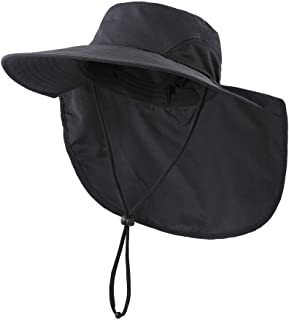 Outdoor UPF50+ Sun Hat Wide Brim Mesh Fishing Hat with Neck Flap
