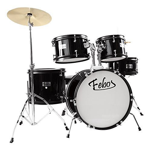 Febos FJDS-502BK Drum Set for Kids Junior Kit 5 Piece with Cymbals, Hardware, Sticks & Throne