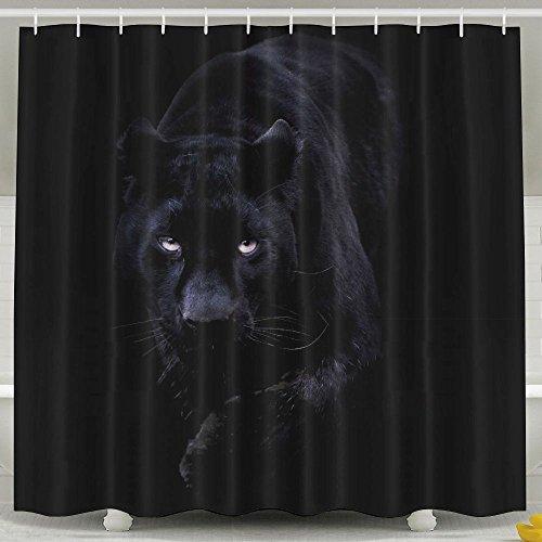 Pengyong Black Panther mit Blauen Augen Form aus beständigem Stoff Duschvorhang für Badezimmer, Wasser, Standard–Repellant 152,4x 182,9cm