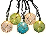 LIDORE Nautical Fishing Floats String Lights Set includes 10 plastic fishing floats light shells with rope nets. Each one contains 1 incandescent mini light. 3 Color of the balls is white, green, blue. Green Wire. Warm White Light. Power source is 11...